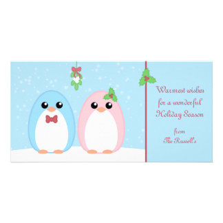 Cute Holiday Penguin Couple Picture Card