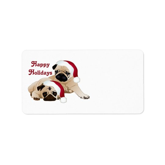 Cute Holiday Pugs Tees and gifts Label