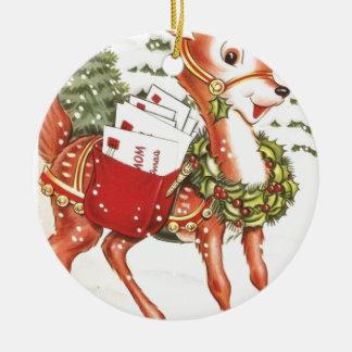 Cute Holiday Santa Reindeer Vintage Christmas Round Ceramic Decoration