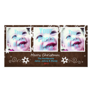 Cute Holiday Snowflake 3 Window Card Mocha - Personalized Photo Card
