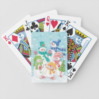 Cute Holiday Snowman Family Bicycle Playing Cards