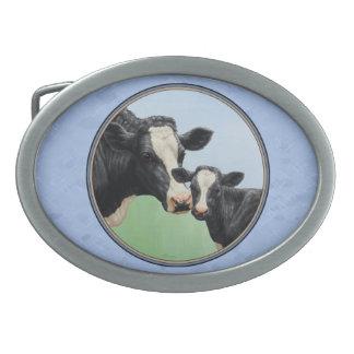 Cute Holstein Calf & Cow Blue Oval Belt Buckles