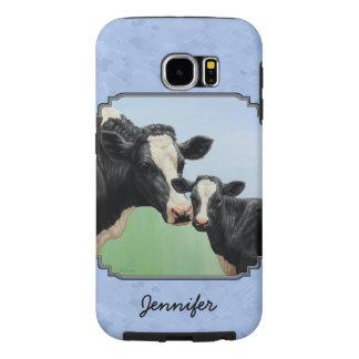 Cute Holstein Calf & Cow Sky Blue Samsung Galaxy S6 Cases