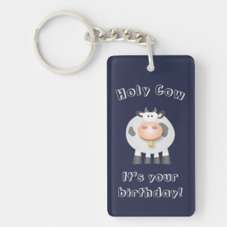 Cute Holy Cow Funny Happy Birthday Party Favor Double-Sided Rectangular Acrylic Key Ring