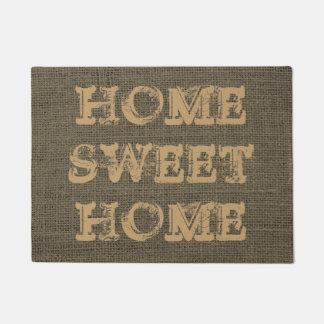 Cute Home Sweet Home Rustic Burlap Doormat