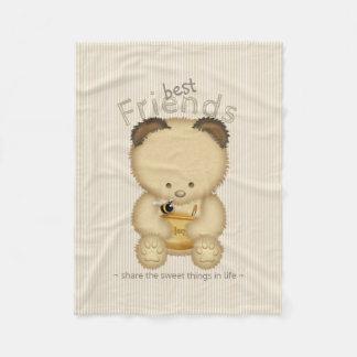 Cute Honey Bear And Bee Best Friends Fleece Blanket