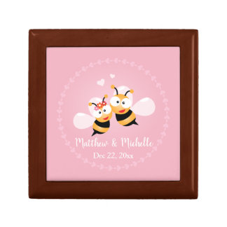 Cute Honey Bee Couple Pink Wedding Thank You Favor Gift Box