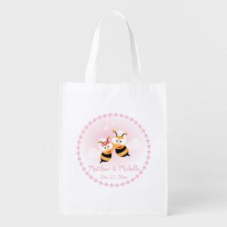 Cute Honey Bee Couple Pink Wedding Thank You Favor Reusable Grocery Bag
