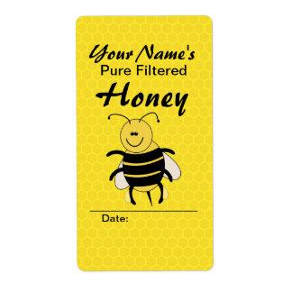 Cute Honey Bee Custom Name Honey Labels for Jar