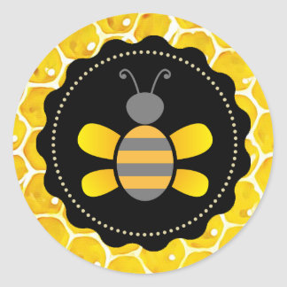 Cute Honeybee Honeycomb Black and Yellow Stickers