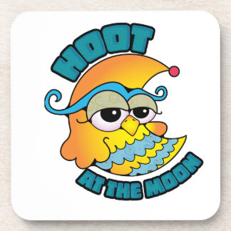 Cute Hoot At The Moon Owl Cresent Cartoon Graphic Beverage Coaster