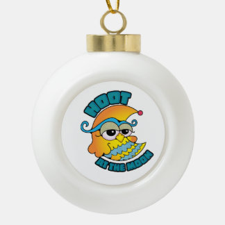 Cute Hoot At The Moon Owl Cresent Cartoon Graphic Ornament