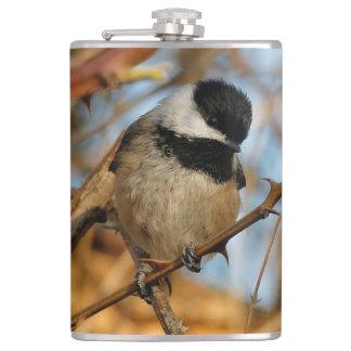 Cute Hopeful Hungry Black-Capped Chickadee Hip Flask