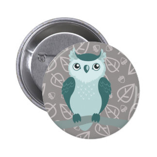 Cute Horned Owl - Miny Green 6 Cm Round Badge