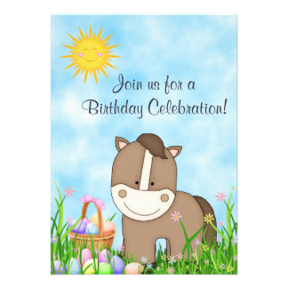 Cute Horse and Easter Basket Birthday Invitation