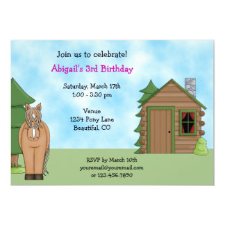 Cute Horse & Cabin Birthday Invitation for Girls