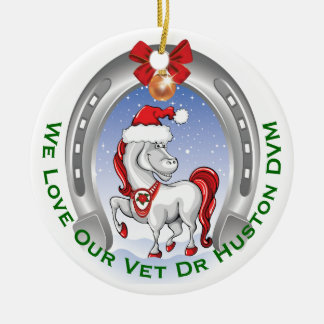 Cute Horse Christmas Gift for Veterinarian Ceramic Ornament
