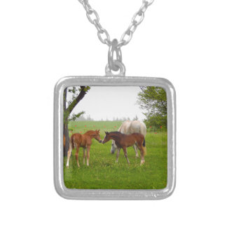 CUTE HORSE FOALS SILVER PLATED NECKLACE