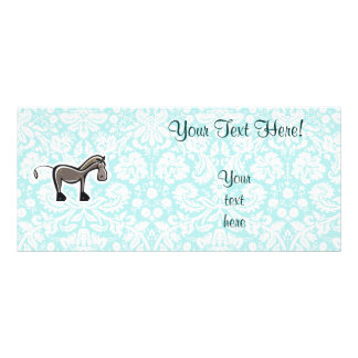 Cute Horse; Teal Full Colour Rack Card