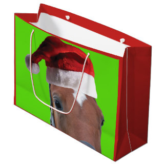Cute Horse wearing a Santa Claus Hat for Christmas Large Gift Bag