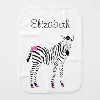 Cute Hot Pink and Black Girly Zebra Baby Name Burp Cloth