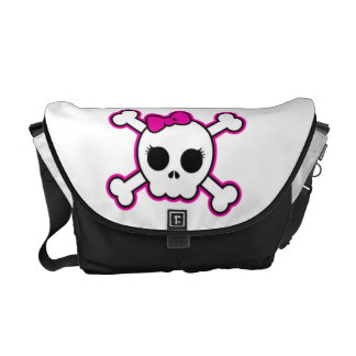 Cute Hot Pink Bow Skull Courier Bags