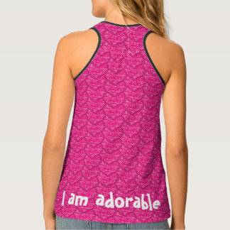 Cute Hot Pink Crayon Hearts All Over Pattern Singlet