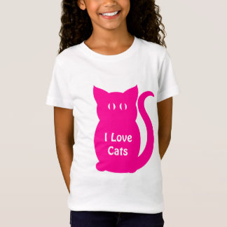 Cute hot pink I Love Cats for kids T-Shirt