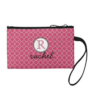 Cute Hot Pink Modern Personalized Coin Purses