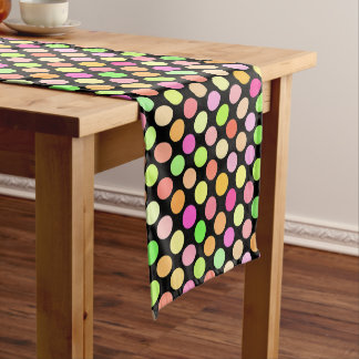 Cute Hot Pink Neon Lime Green Polka Dots Pattern Medium Table Runner