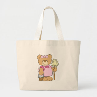 Cute House Cleaning Bear Large Tote Bag