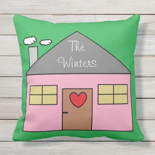 Cute House Drawing Personalised Last Name Outdoor Cushion