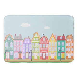 Cute Houses Pastel Bath Mat Bath Mats