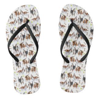 Cute Howling Basset Hounds Flip Flops Thongs