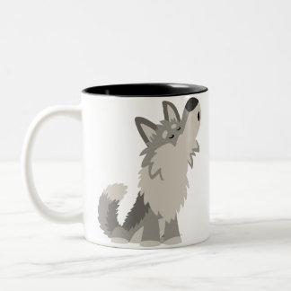 Cute Howling Cartoon Wolf Mug