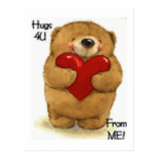 Cute Hugs For You Valentine Teddy Postcard