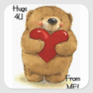 Cute Hugs For You Valentine Teddy Square Sticker