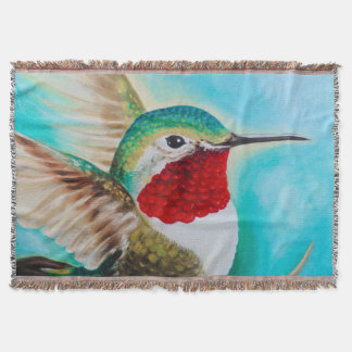 Cute Hummingbird Throw Blanket