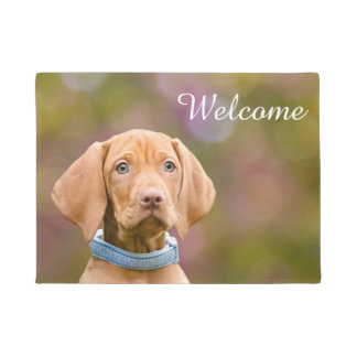 Cute Hungarian Vizsla Dog Puppy Photo _ Welcome Doormat