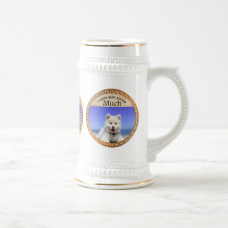 Cute Husky's with blue eye sitting on the beach Beer Stein