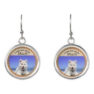 Cute Husky's with blue eye sitting on the beach Earrings