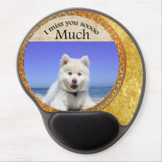 Cute Husky's with blue eye sitting on the beach Gel Mouse Pad