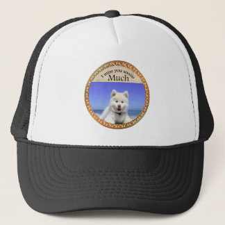 Cute Husky's with blue eye sitting on the beach Trucker Hat