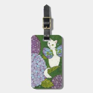 Cute Hydrangea Kitty Cat Fairy Floral Luggage Tag