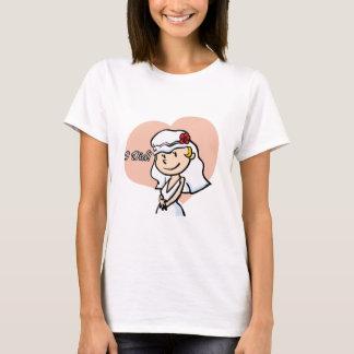 "Cute ""I did"" Cartoon Bride T-Shirt"