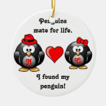 Cute I Found My Penguin Mate for Life Red Heart Round Ceramic Decoration