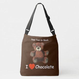Cute I Heart (Love) Chocolate Teddy Bear Crossbody Bag