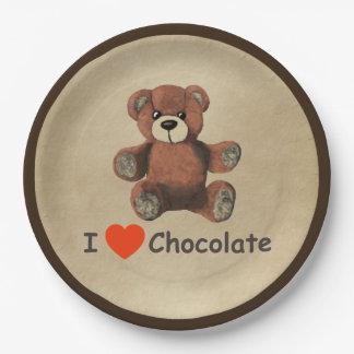 Cute I Heart (Love) Chocolate Teddy Bear Paper Plate