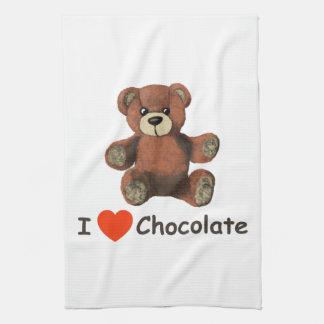 Cute I Heart (Love) Chocolate Teddy Bear Towels