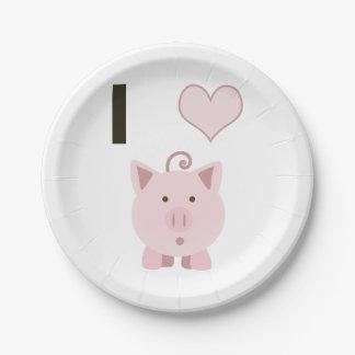 Cute I heart pigs Desgin 7 Inch Paper Plate